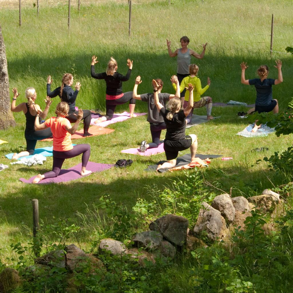 Outdoor yoga in Simlångsdalen